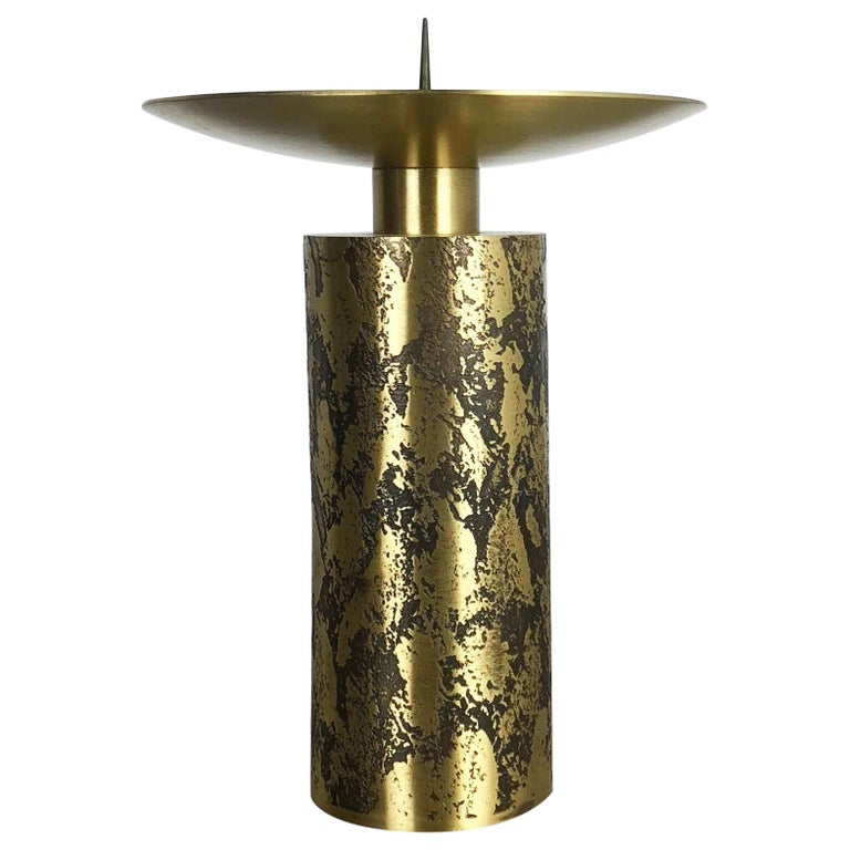 Extra Large Modernist Vintage 1970s Sculptural Brutalist Brass Candleholder For Sale