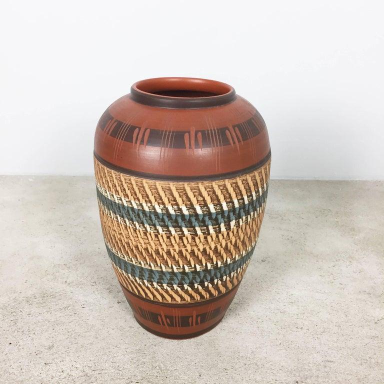 Mid-Century Modern Extra Large Vintage Handmade Ceramic Pottery Floor Vase, Germany, 1960s For Sale