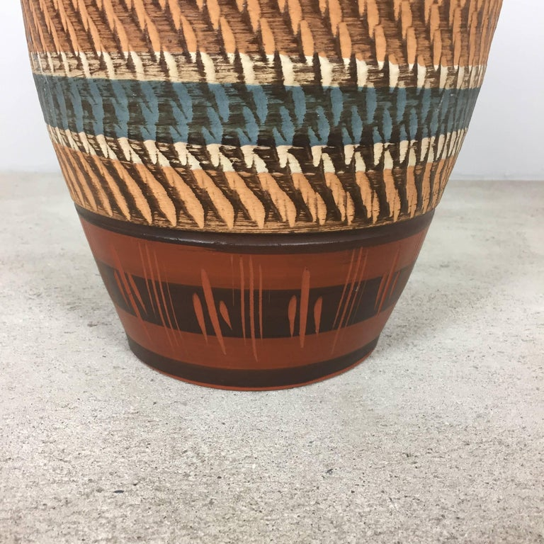 20th Century Extra Large Vintage Handmade Ceramic Pottery Floor Vase, Germany, 1960s For Sale