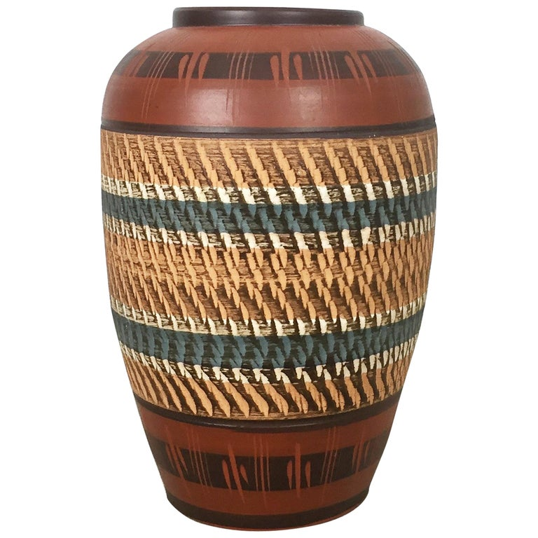 Extra Large Vintage Handmade Ceramic Pottery Floor Vase, Germany, 1960s For Sale