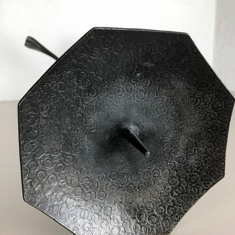Extra Large Modernist Vintage Sculptural Brutalist Metal Candleholder, Austria For Sale 5