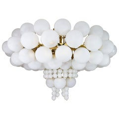 XXL Hotel Chandelier with Brass Fixture and Hand-Blowed Frosted Glass Globes