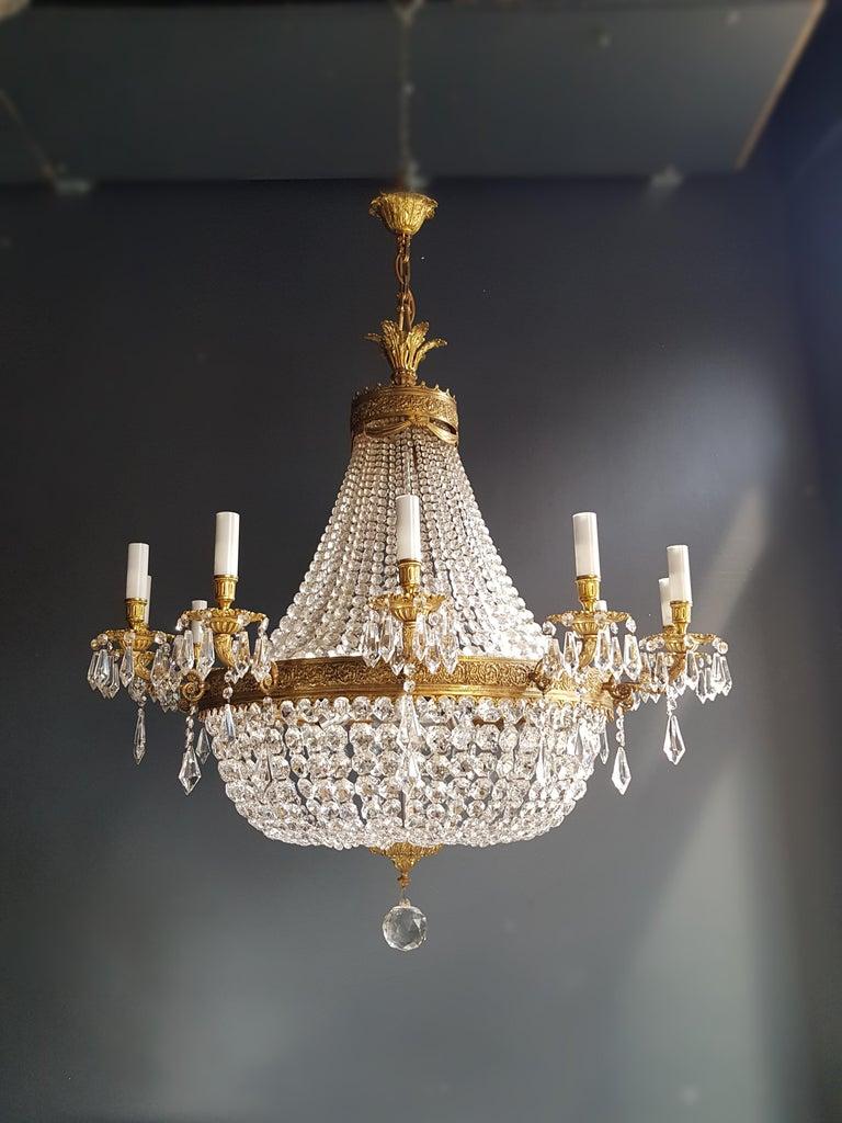 German XXL Huge Montgolfièr Empire Sac a Pearl Chandelier Crystal Lustre Ceiling Lamp For Sale