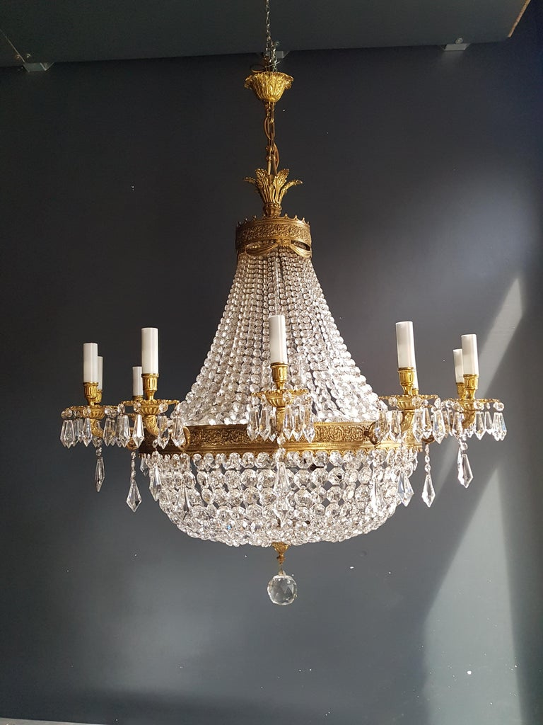 Hand-Knotted XXL Huge Montgolfièr Empire Sac a Pearl Chandelier Crystal Lustre Ceiling Lamp For Sale