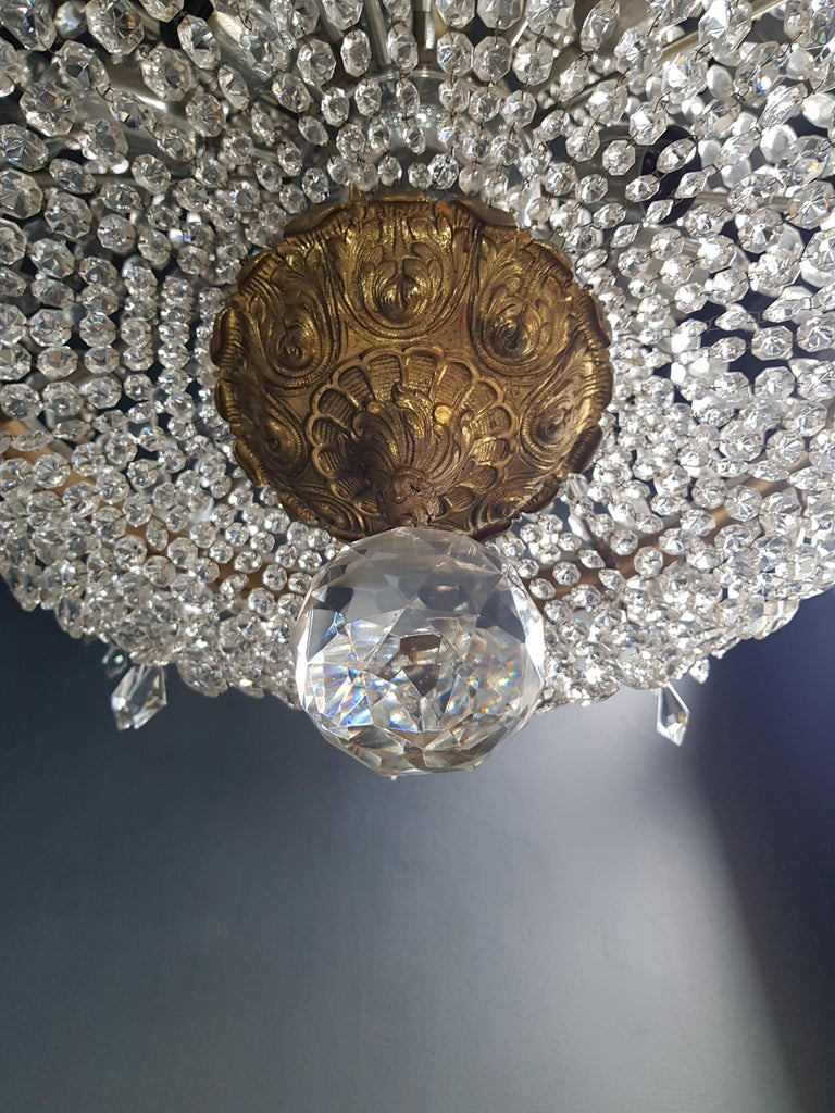 Mid-20th Century XXL Huge Montgolfièr Empire Sac a Pearl Chandelier Crystal Lustre Ceiling Lamp For Sale