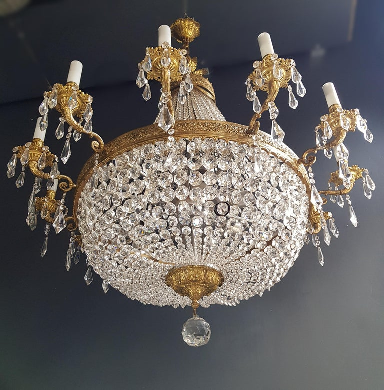 Brass XXL Huge Montgolfièr Empire Sac a Pearl Chandelier Crystal Lustre Ceiling Lamp For Sale