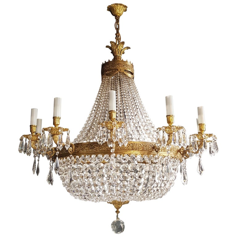 XXL Huge Montgolfièr Empire Sac a Pearl Chandelier Crystal Lustre Ceiling Lamp For Sale