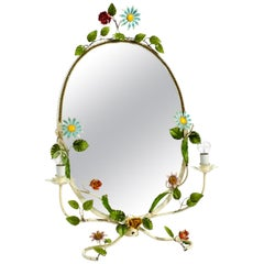 XXL Rare Beautiful 1960s Floral Metal Table Mirror Hand Painted, Made in Italy