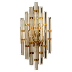 XXL Venini Style Murano Glass and Gold-Plated Sconce, Italy