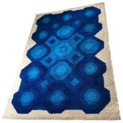 Xxl Vintage 1970s Modernist High Pile Op Art Carpet Rug, Germany, 1970s