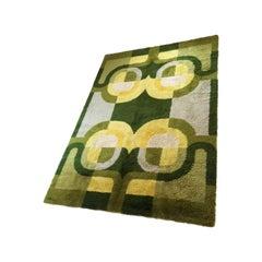 Extra Large Vintage 1970s Modernist High Pile Op Art Carpet Rug, Germany, 1970s