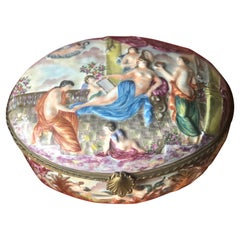 XXth Century Antique Italian Porcelain Box Capodimonte Richly Decorated