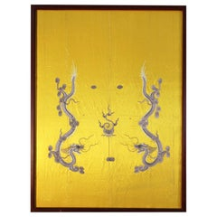 Xxth Century Chinese Silk Embroidered Whit Two Dragons and the Fireball
