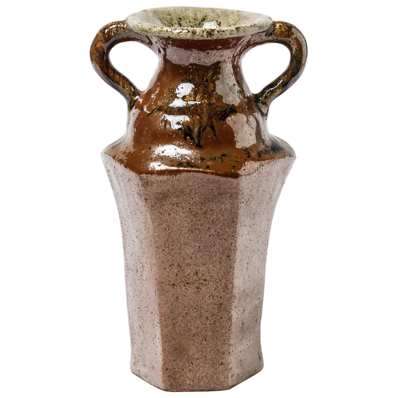 XXth Century Red Brown Ceramic Vase by Yoland Cazenove French Design