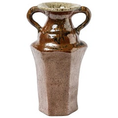 XXth Century Red Brown Ceramic Vase by Yoland Cazenove French Design