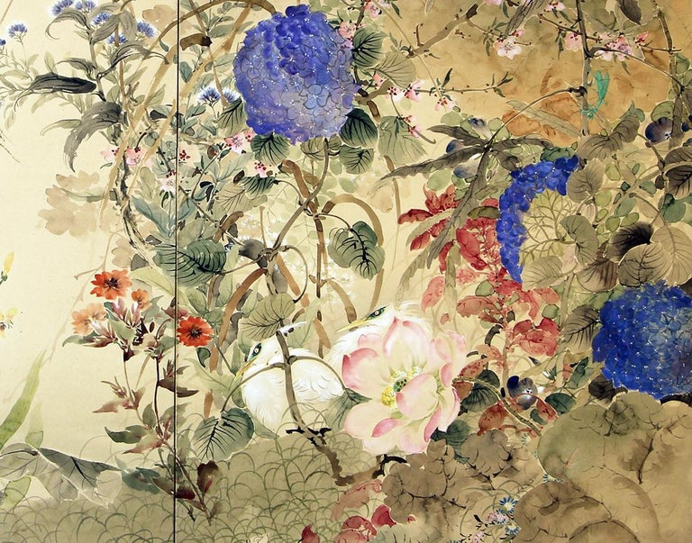 Japanese two-panel screen, Showa period, hand painted on vegetable paper.