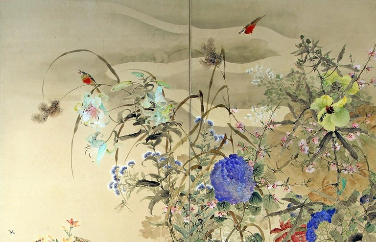 Showa 20th Century Japanese Folding Screen Spring Garden with Flowers and Birds  For Sale