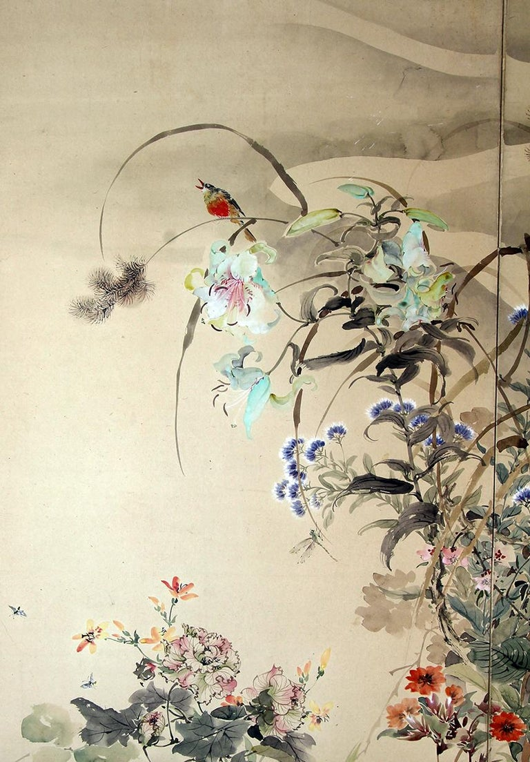 Hand-Painted 20th Century Japanese Folding Screen Spring Garden with Flowers and Birds  For Sale