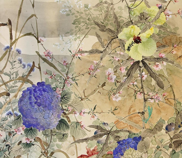 20th Century Japanese Folding Screen Spring Garden with Flowers and Birds  In Good Condition For Sale In Brescia, IT