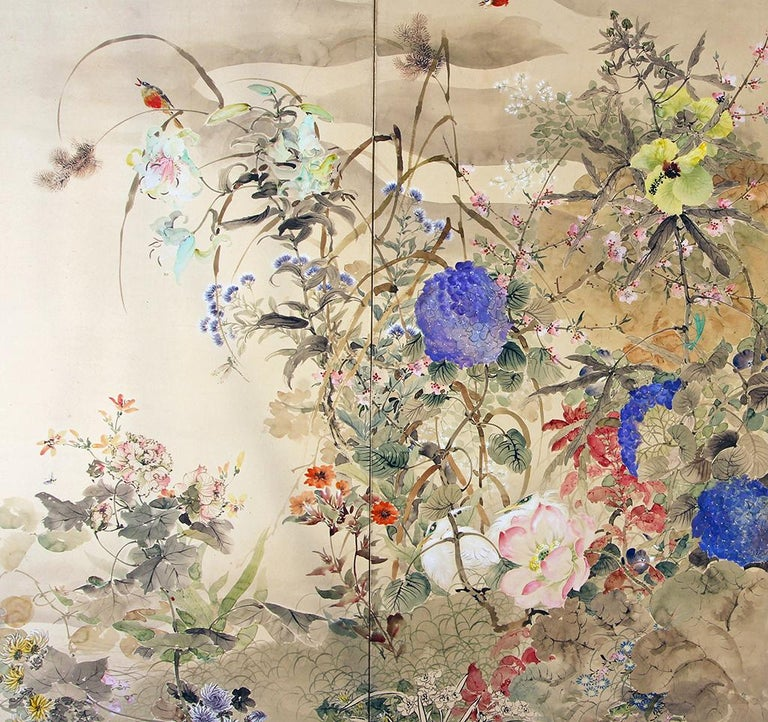 Paper 20th Century Japanese Folding Screen Spring Garden with Flowers and Birds  For Sale