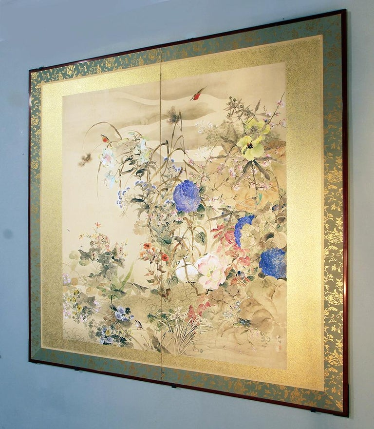 20th Century Japanese Folding Screen Spring Garden with Flowers and Birds  For Sale 1