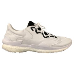 Y-3 by YOHJI YAMAMOTO Size 12 White Leather Lace Up Sneakers
