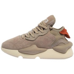 Y-3 Kaiwa Beige Suede Lace Up Sneakers Size 38.5