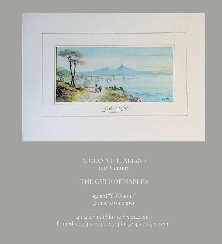 Y. Gianni (Italian) The Gulf of Naples, 19th Century. A beautiful signed