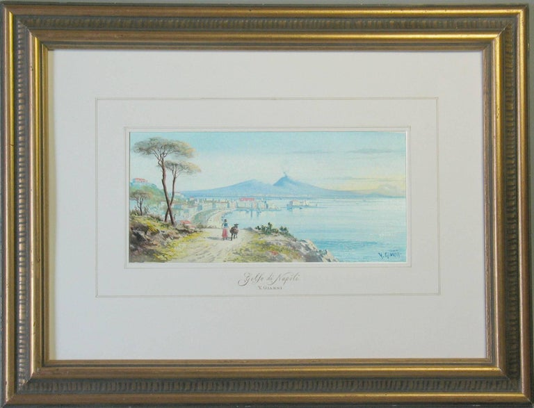 Grand Tour Y. Gianni, Italian the Gulf of Naples, 19th Century  For Sale