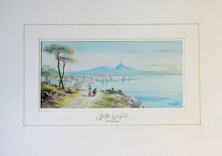 Painted Y. Gianni, Italian the Gulf of Naples, 19th Century  For Sale