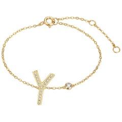 Y Initial Bezel Chain Bracelet