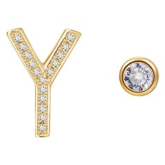 Y Initial Bezel Mismatched Earrings