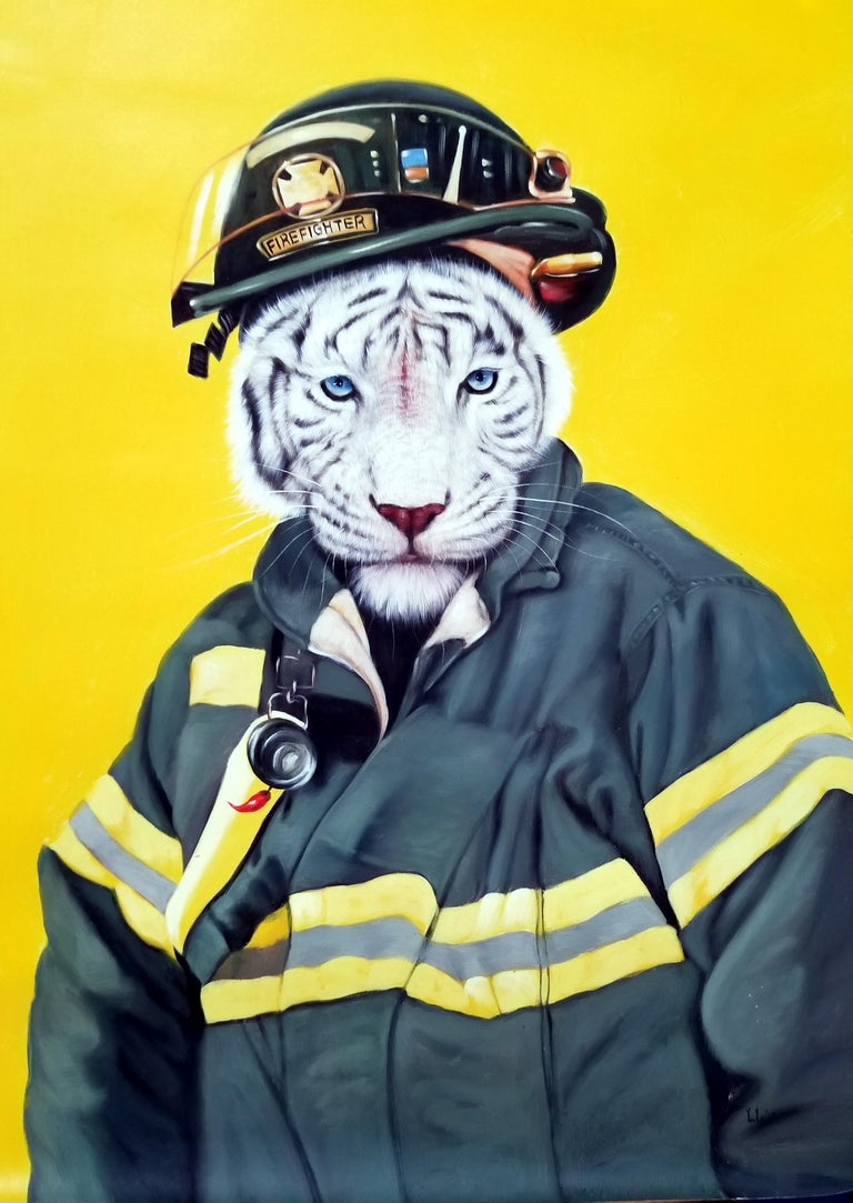 Y.m.Lo Animal Painting - Captain Cat lll