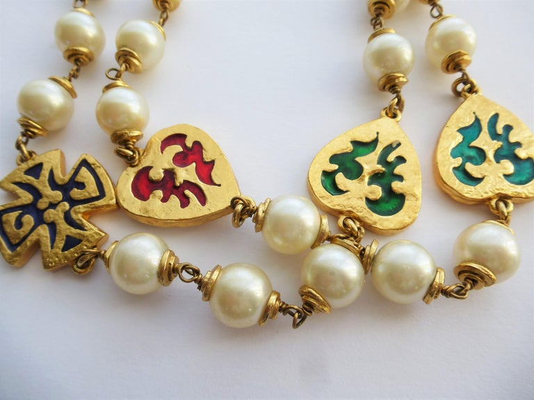 Artist Y. ST. LAURENT haute couture necklace, with  pearls, crosses, hearts 1980s  For Sale