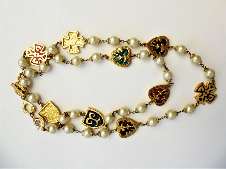 Round Cut Y. ST. LAURENT haute couture necklace, with  pearls, crosses, hearts 1980s  For Sale