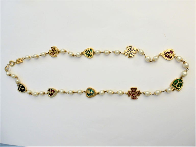 Y. ST. LAURENT haute couture necklace, with  pearls, crosses, hearts 1980s  For Sale 1