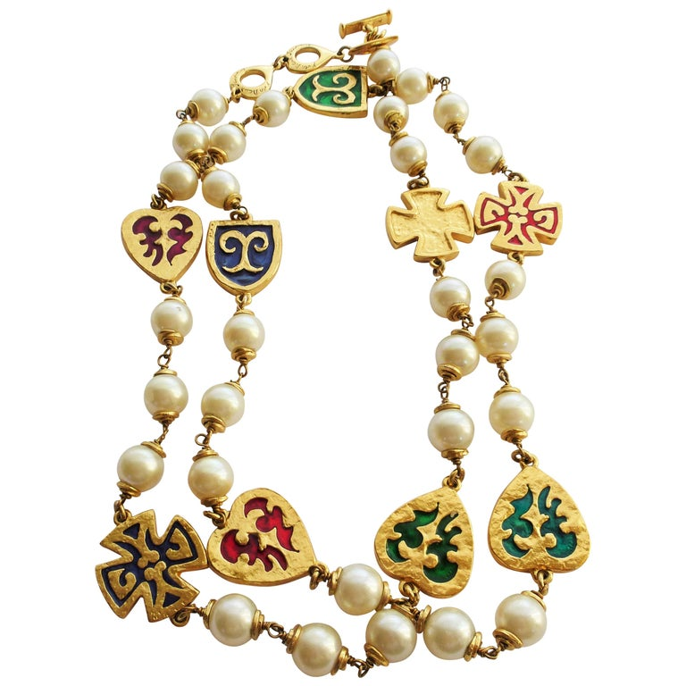Y. ST. LAURENT haute couture necklace, with  pearls, crosses, hearts 1980s  For Sale