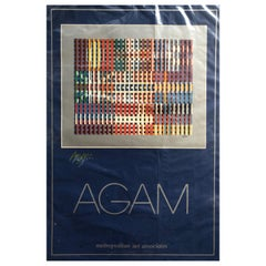 "Yaacov Agam ""Flags of All Nations"" Double Signed in Color Pencil Poster"