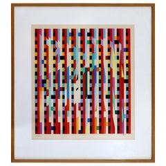 Yaacov Agam Rainbow Modern Signed Serigraph Framed