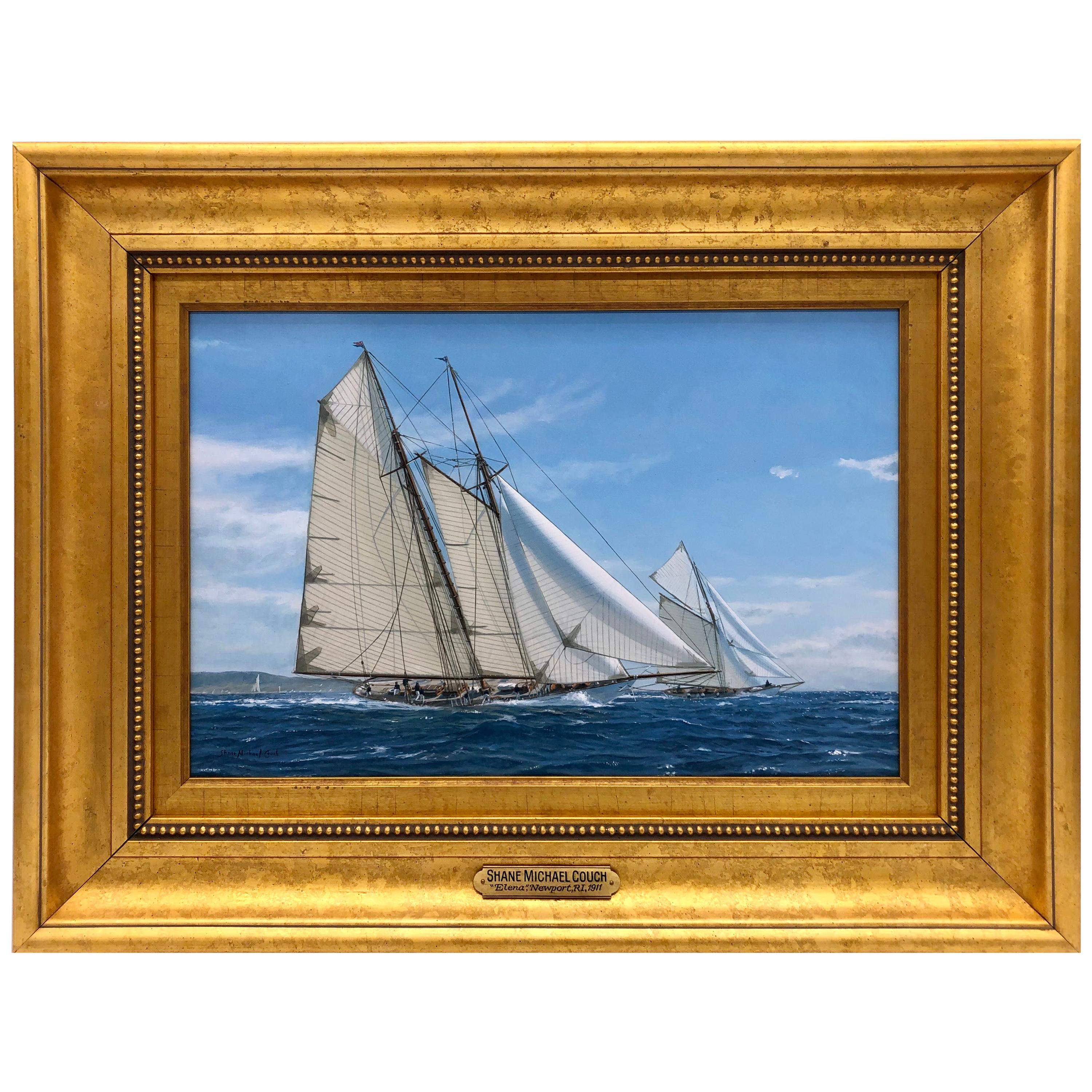 """""""Yacht Racing off Newport, 1911"""" by Shane Michael Couch"""