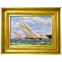 """Yachts Racing off Norris Castle"" Nautical Painting by Stephen J. Renard"