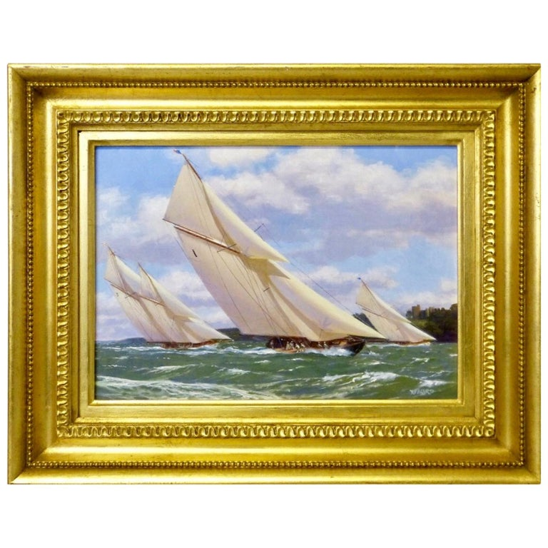 """Yachts Racing off Norris Castle"" Nautical Painting by Stephen J. Renard For Sale"