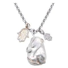 Yael 18 Karat White Gold Baroque Pearl and Diamond Necklace