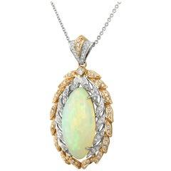 Yael Design White Opal and Diamond Pendant