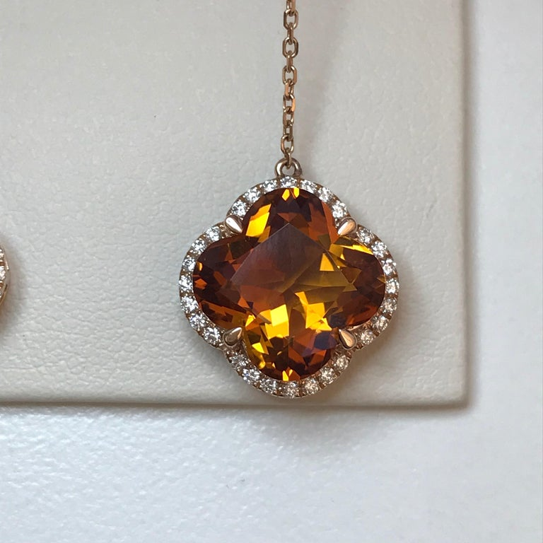 Yael Designs Clover-Cut Madeira Citrine and Diamond Butterfly Earrings In New Condition For Sale In San Francisco, CA