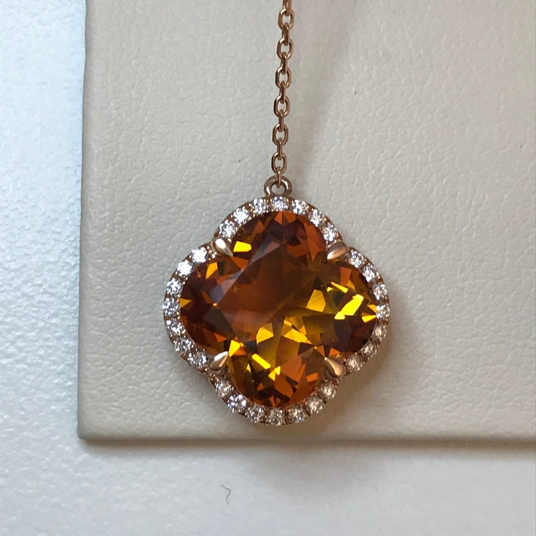 Women's Yael Designs Clover-Cut Madeira Citrine and Diamond Butterfly Earrings For Sale