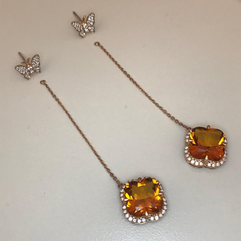 Yael Designs Clover-Cut Madeira Citrine and Diamond Butterfly Earrings For Sale 3