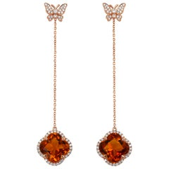 Yael Designs Clover-Cut Madeira Citrine and Diamond Butterfly Earrings