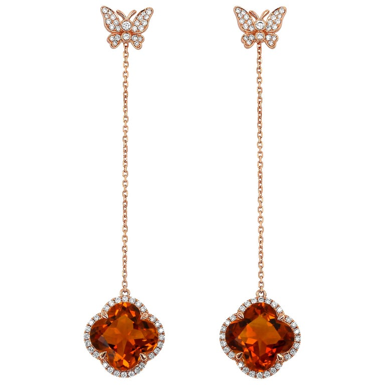 Yael Designs Clover-Cut Madeira Citrine and Diamond Butterfly Earrings For Sale