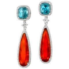 Yael Designs Fire Opal Blue Zircon Diamond and White Gold Drop Earrings